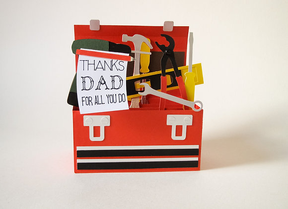 Father's Day Card, 3D toolbox box card
