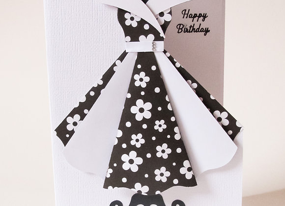 vintage style darling dress card. Birthday card
