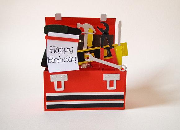 tool box and tools 3D card. birthday card. 3D box card