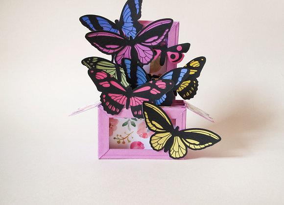 Flight of butterflies 3D box card, Birthday Wishes