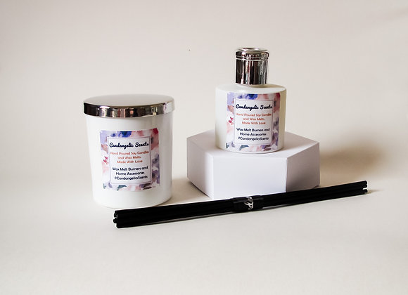 wild violet and black amber candle and reed diffuser gift set