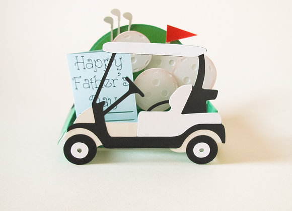 Golf Buggy Father's Day card, golf clubs, golf ball, driving range