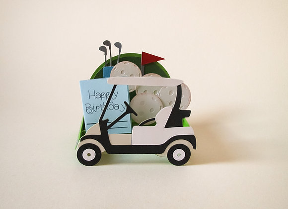 Golf Buggy, Happy Birthday card, Golf clubs, hobby card, golf balls, golf flag,