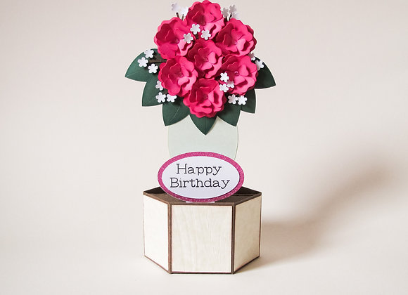 Rose Bouquet, Pop up card, 3D box card, Happy Birthday