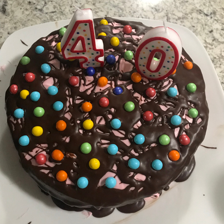 Because 40 candles would burn the house down.