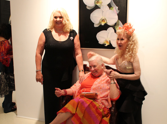 US Federal Judge, The Honorable Justice Elizabeth Lamb greeting Nancy Balmert & Ms. Ruthie Tucker, owner, Amsterdam Whitney Gallery