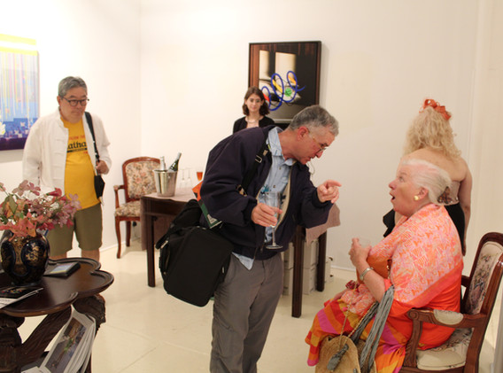 """US Federal Judge, The Hon. George Chew celebrating the """"Mid-Summer Night's Dream"""" exhibit at Amsterdam Whitney Gallery"""