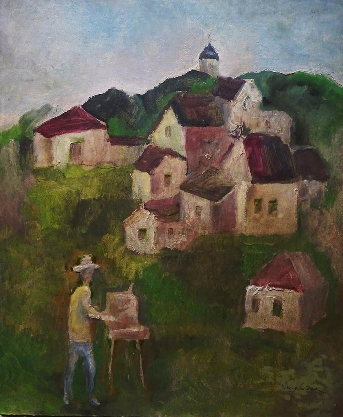 7 Village landscape   oil on   cardboard