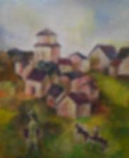 2 Artist in the Village oil on  cardboar