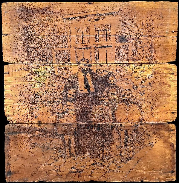 INTERNATIONAL TRACING SERVICES GERMANY, Burnt Drawing on Recycled Wood, 35.5 x 35.5 x 3.jp