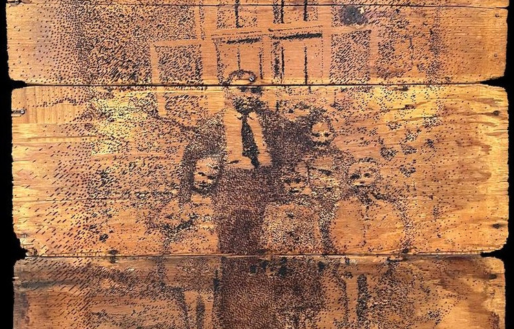 """""""FROM THE SERIES FAMILIES PORTRAITS"""" by: Dr. Bela Gold International Tracing Services - Auschwitz- Bad Arolsen - Germany Burnt Drawing on Recycled Wood 34.4"""" x 34.4"""""""