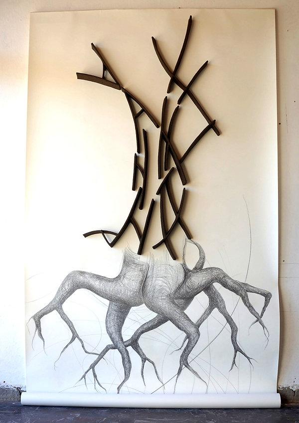 Breath of Mind, 250 x 150 x 20cm, clay b