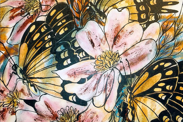 Camelios Watercolor on Canvas 24 x 24.jp