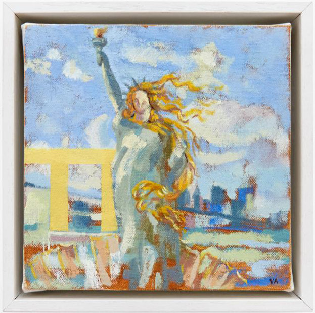 statue of liberty I Oil on Canvas 9x9.jp