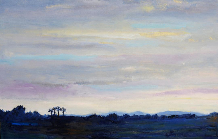 """""""Dimming of the Day"""" by: Sally Ruddy Oil on Canvas 16"""" x 20"""""""