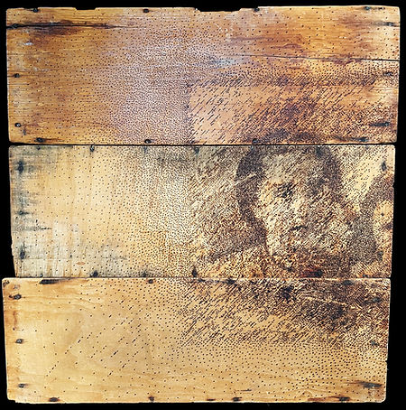 FROM THE SERIES FAMILIES PORTRAITS, Burnt Drawing on Recycled Wood, 70.8' X 34.4' (1).jpg