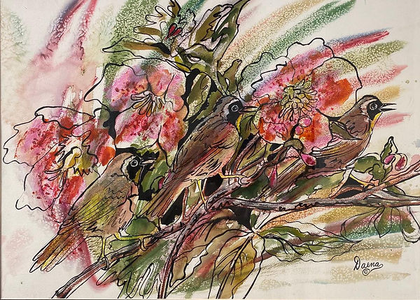 hibiscus and birds watercolor 28x36.JPG