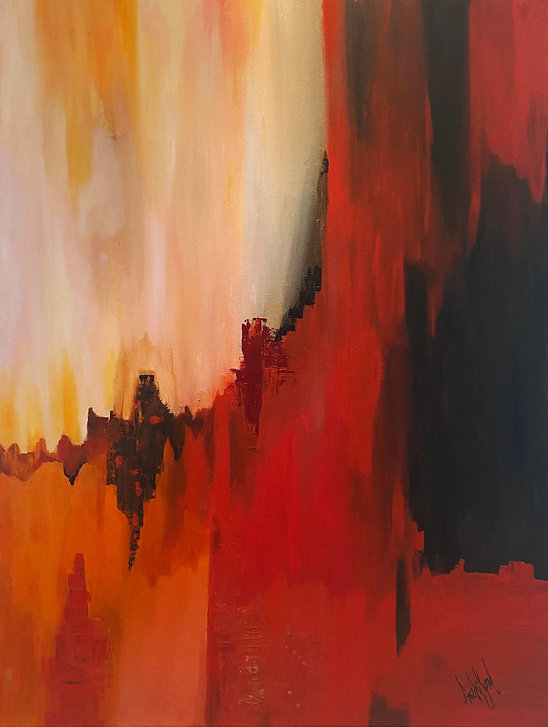 Black, Red and Orange oil on canvas 19x3