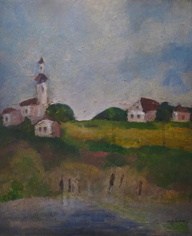 6 Old Village    oil on cardboard    13x