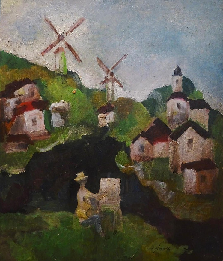 5 Old mills    oil on cardboard    13x11