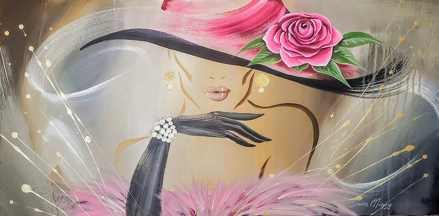 Pearls and Pink 36 x 18  acrylic on  can