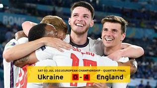 អ៊ុយក្រែន ០-៤ អង់គ្លេស៖ សៀវភៅតោ ៣ ក្បាលវគ្គពាក់កណ្តាលផ្តាច់ព្រ័ត្រ Euro ២០២០ នៅ Wembley ទល់នឹងដាណឺម៉