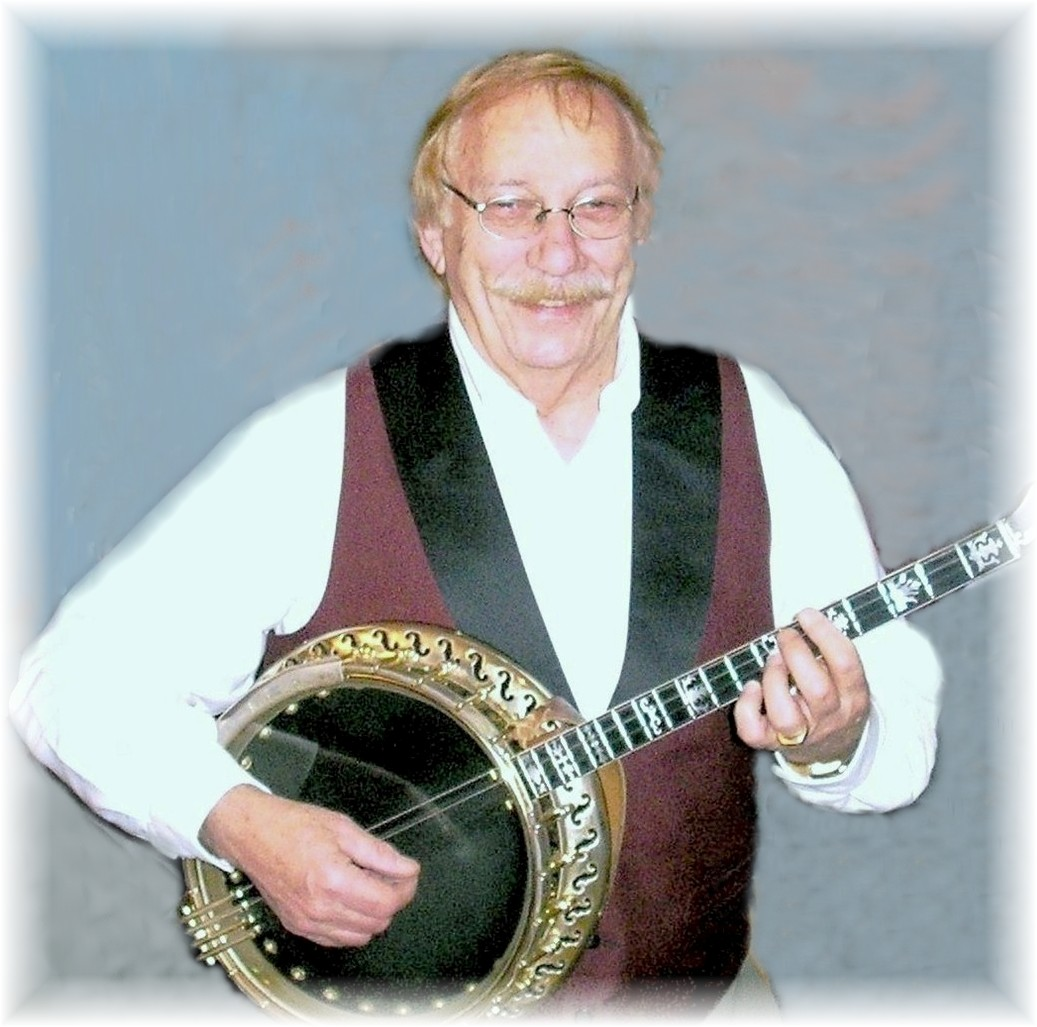 Bob Adams with banjo portrait