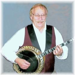 Bob Adams with banjo portrait