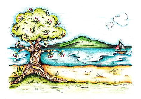 Mission Bay Illustration A4 Art Print