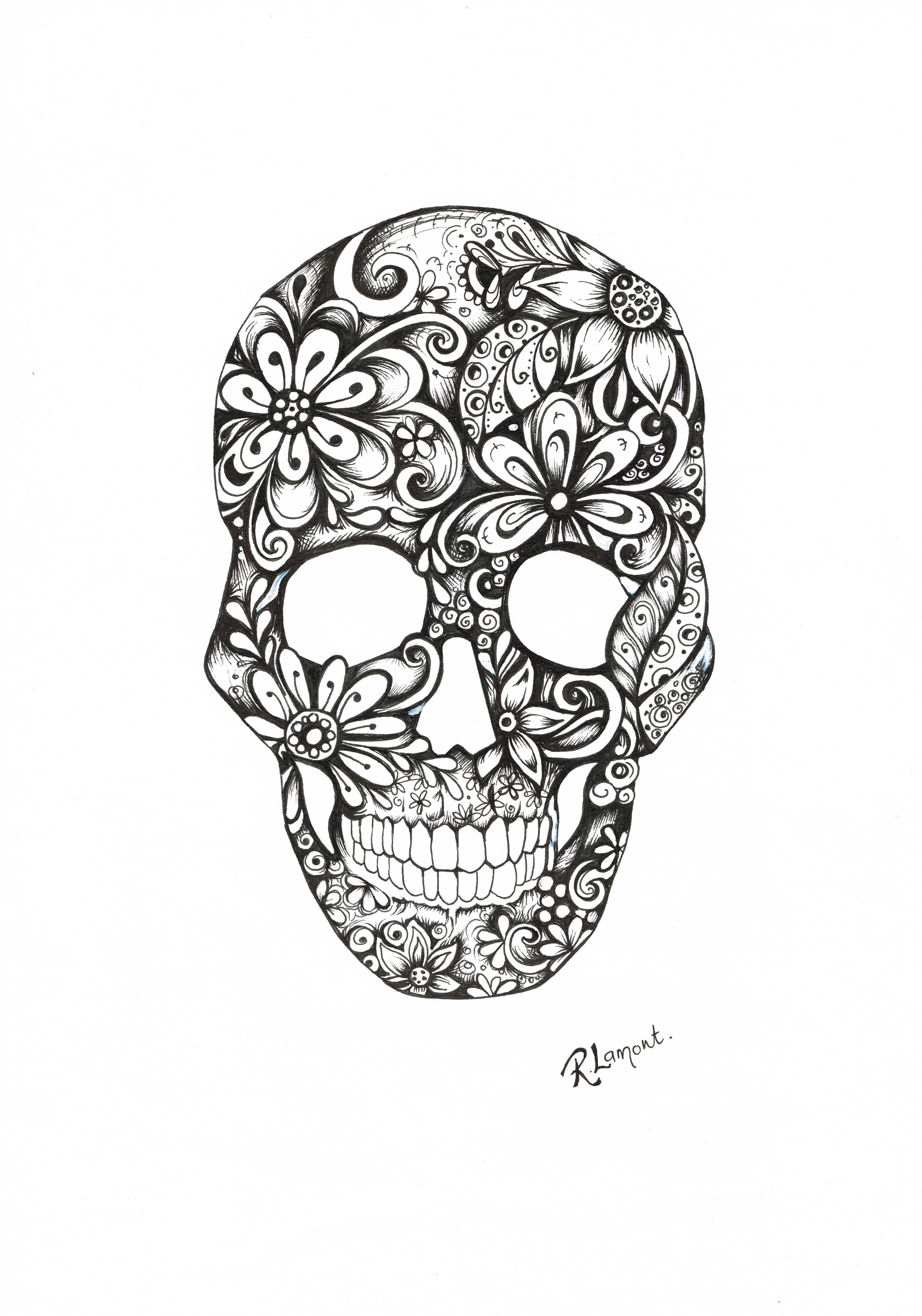 Fred - Floral Skull Illustration