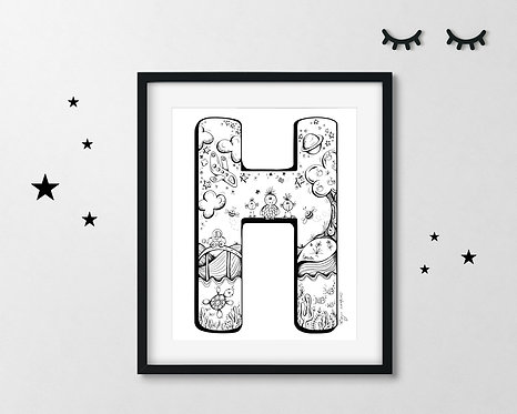 The Letter H - A4 Art Print