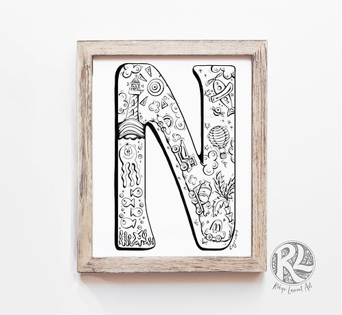The Letter N - A4 Art Print