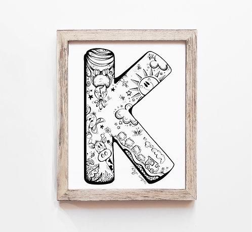 The Letter K - A4 Art Print