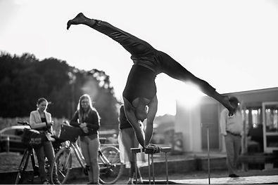 Ida Langkilde handstand acting for climate performing circus