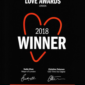 Winner of TimeOut Love London Award 2018