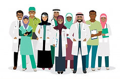 muslim-hospital-team-vector-illustration-standing-arabian-physician-surgeon-arab-woman-nur