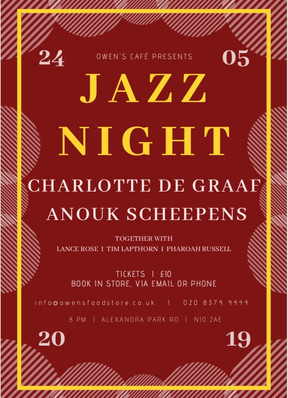 24th of May 2019: Jazz night at Owen's Cafe