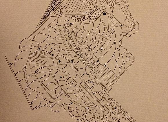 """#5 """"Les ondes sur l'eau"""", 30 x 40 cm, feutre sur papier kraft, 2017"""