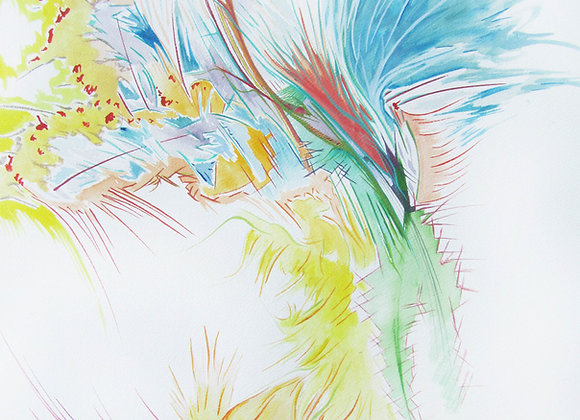 """Wind of Carcès"", 61 x 46, aquarelle sur papier, 2015"