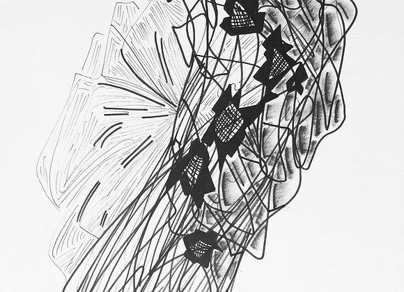 """""""Fleur II"""", 21x29, encre de chine sur papier, 2018."""