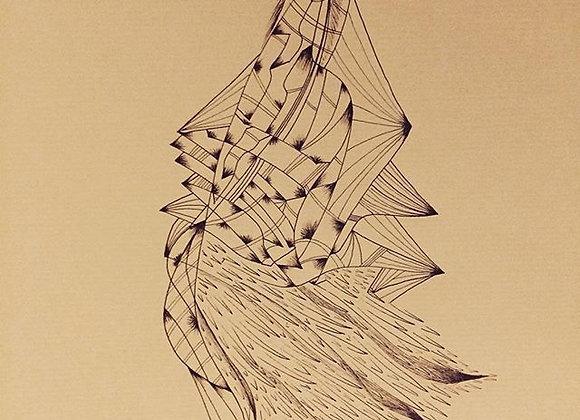 """#23 """"La robe de mer"""", 30 x 40 cm, feutre sur papier kraft, 2017"""