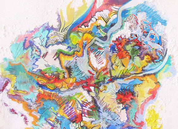 """""""Terra incognita"""", 58 x68, technique mixte sur papier 2014"""