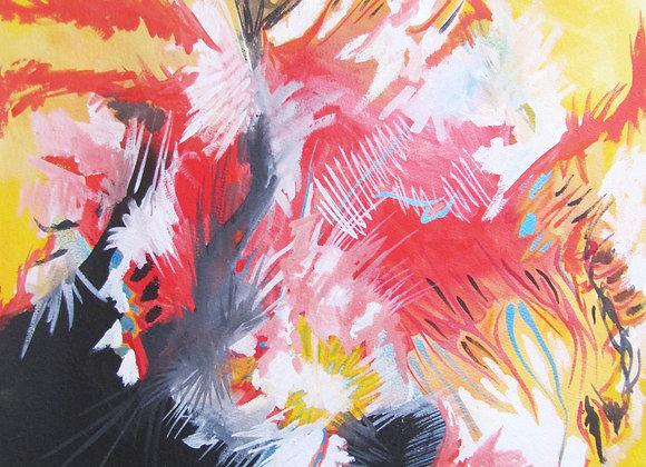 """""""Eclosion colorée I"""", 65 x 50 , pigment sur papier, 2015"""