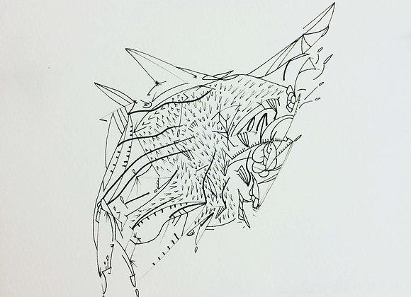 """""""poisson de forme"""", 25x25, encre de chine sur papier, 2017"""