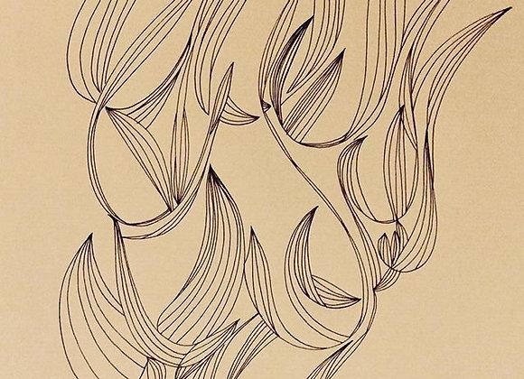 """#29 """"Leaves"""", 30 x 40 cm, feutre sur papier kraft, 2017"""