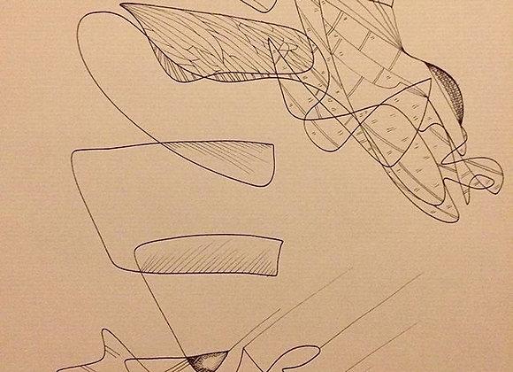 """#25 """"Tenir en équilibre"""", 30 x 40 cm, feutre sur papier kraft, 2017"""