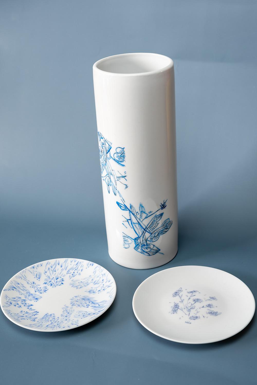 Vases et assiettes en porcelaine de Limoges