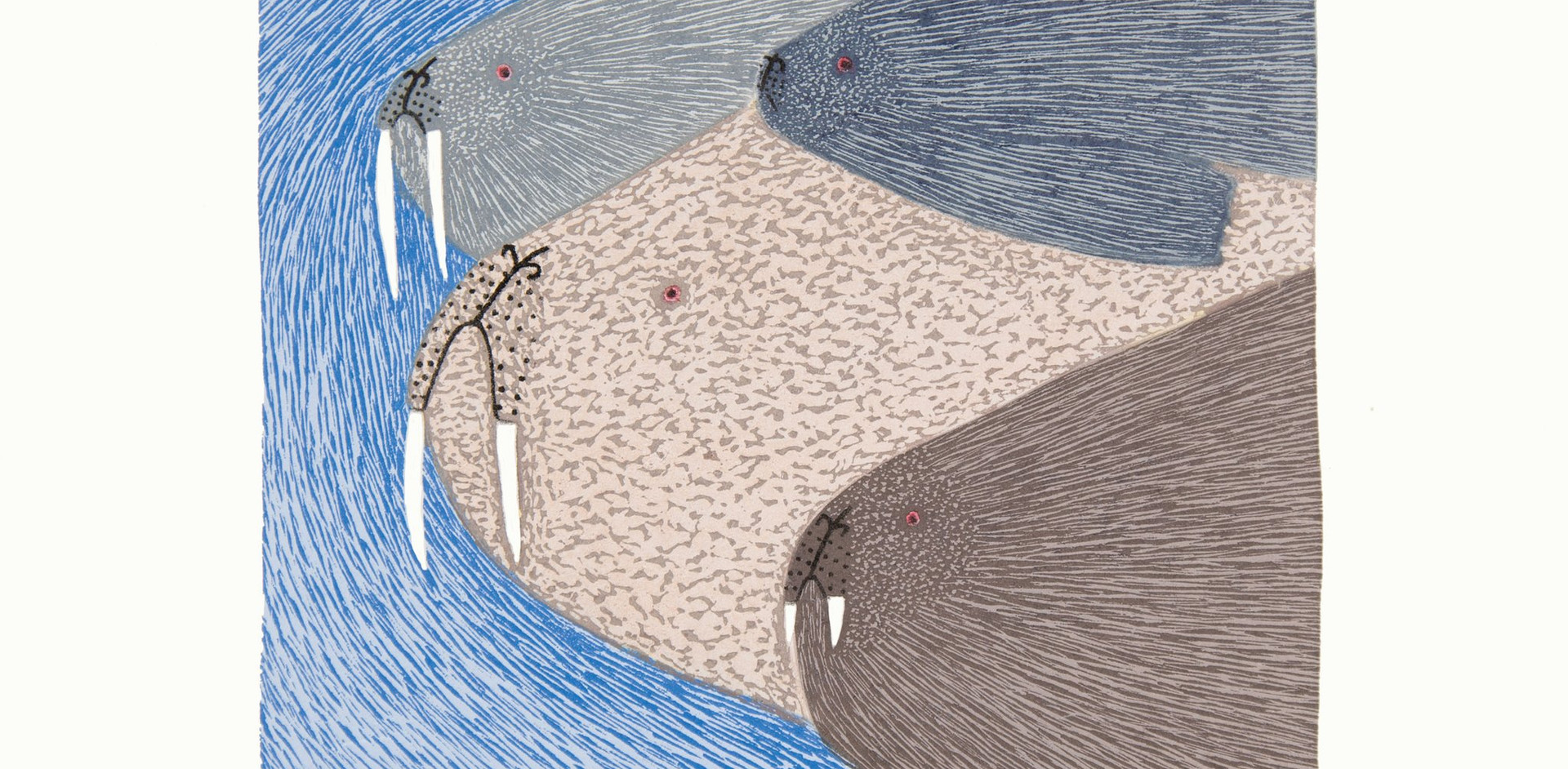 Swimming Walrus by Ningiukulu Teevee from the collection of Kathryn Hanna