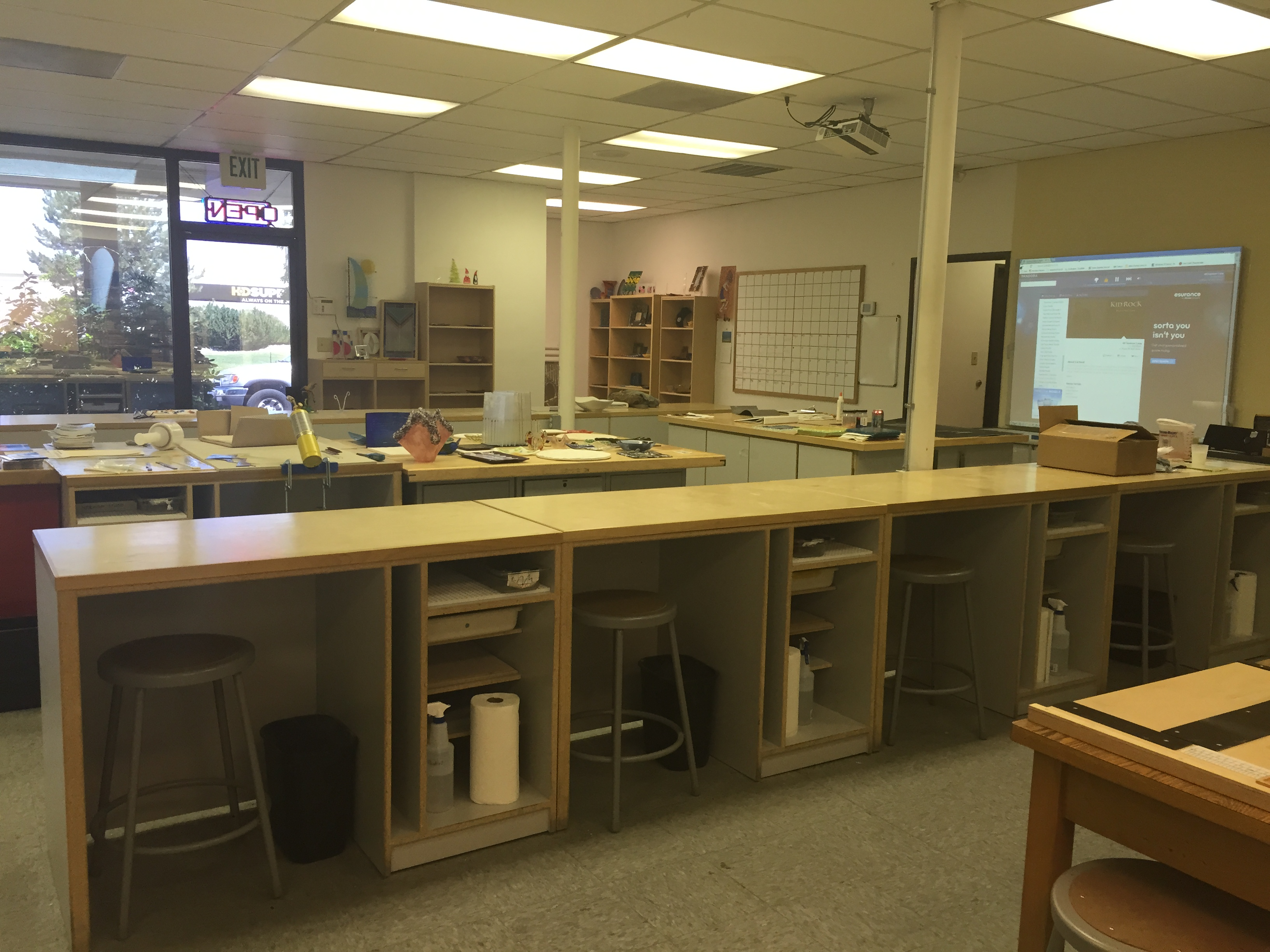 Student set ups and teacher table