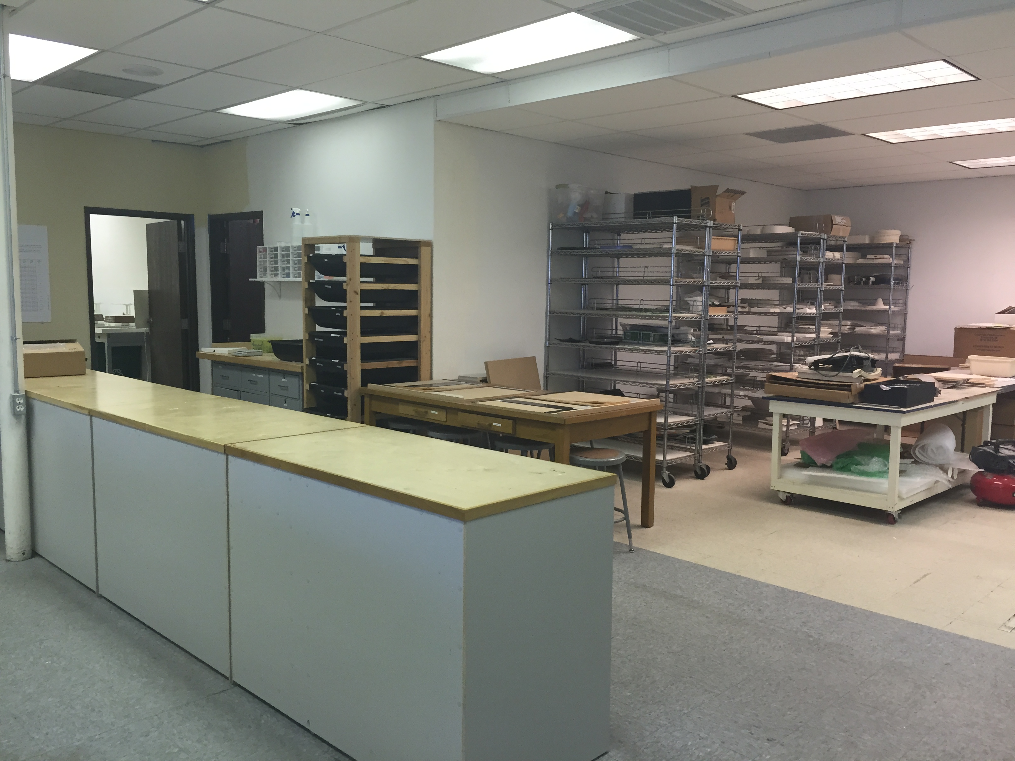 Racks with various molds and student tables